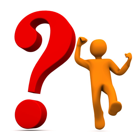 questionable request: Orange cartoon character with red question mark. White background. Stock Photo