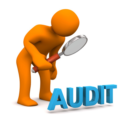 Orange cartoon character with loupe and blue text audit. photo