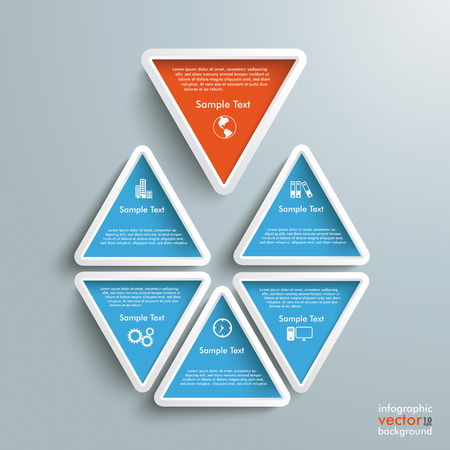 Six triangles on the grey background. Vector