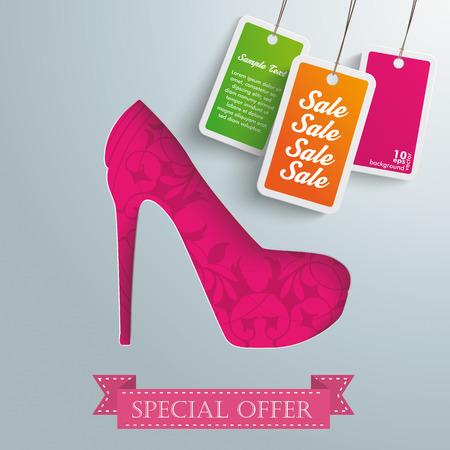 shoe sale: Silver background design with red high heel.  Illustration