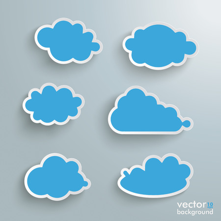 Clouds set on the grey background Vector
