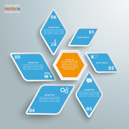 Infographic design with rhombus star on the grey background.