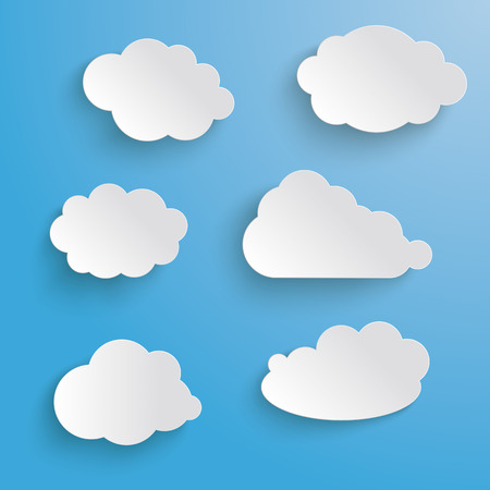 Clouds set on the grey background.  Vector