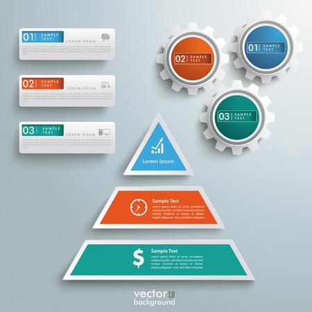 Infografik-Design mit farbigen Pyramide auf dem grauen Hintergrund.