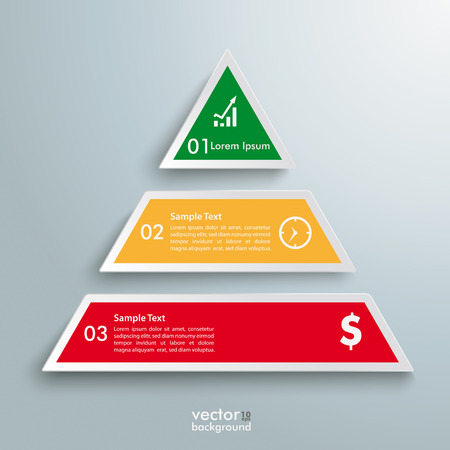 triangles: Infographic design with colored pyramid on the grey background.