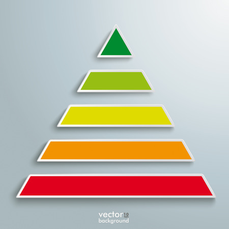 Infographic design with colored pyramid on the grey background. Eps 10 vector file. Vector