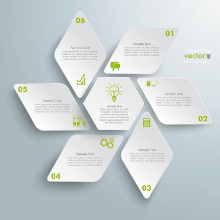 six objects: Infographic design with rhombus star on the grey background.