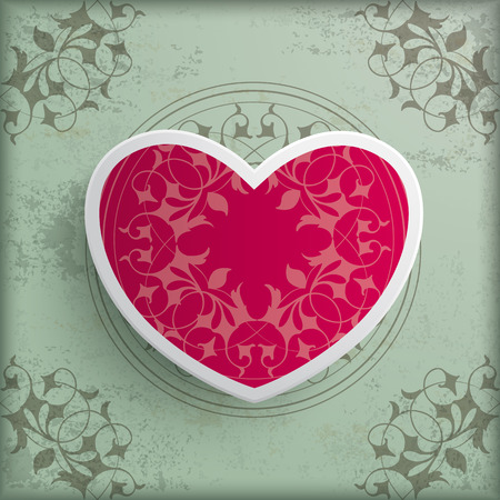 Vintage background design with big heart.  Vector