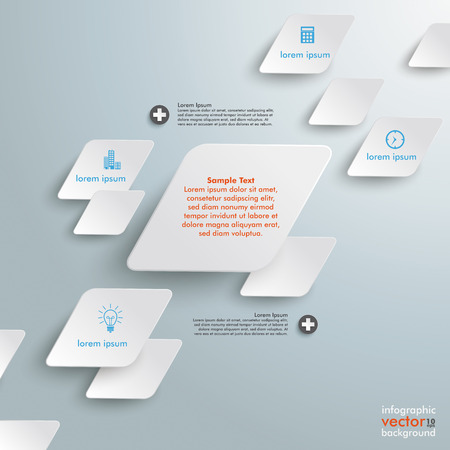 iterative: Infographic design with rhombus star on the grey background.
