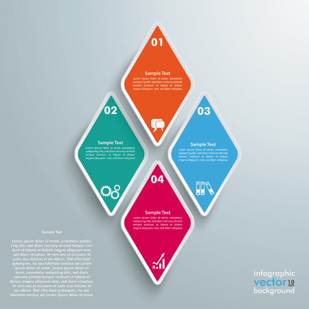 Infographic design with rhombus pieces on the grey background. Eps 10 vector file. Illustration