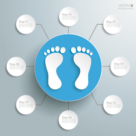 footing: White feet with blue circle on the grey background. Eps 10 vector file.