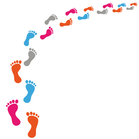 Colored footprints on the white background. Eps 10 vector file. Illustration