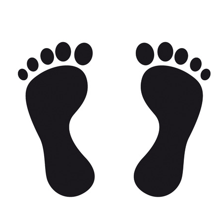 Black footprints on the white background. Eps 10 vector file.