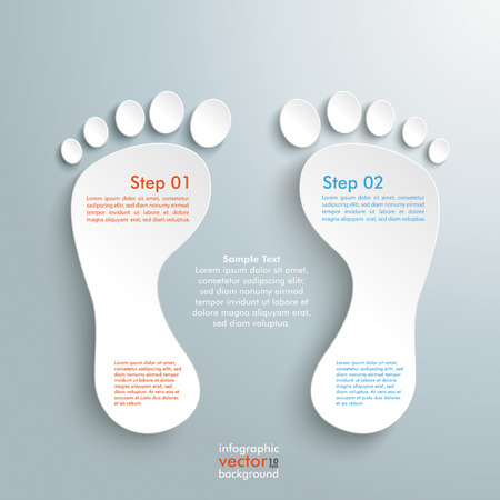 footing: Infographic design with white footprint on the grey background. Eps 10 vector file.