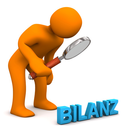 Orange cartoon character with german text Bilanz, translate Balance.