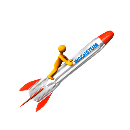 Orange cartoon character on the rocket with blue german text Wachstum, translate Growth. photo