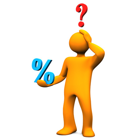 Orange cartoon character with blue symbol of percent and red question mark.