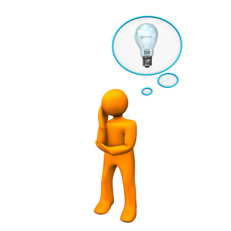 Orange cartoon character with thought bubble and bulb. photo