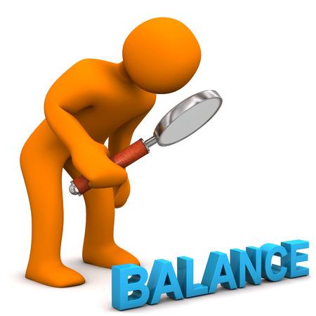 Orange cartoon character with text balance. photo