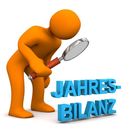 community surveillance: Orange cartoon character with german text Jahresbilanz, translate Annual Balance. Stock Photo