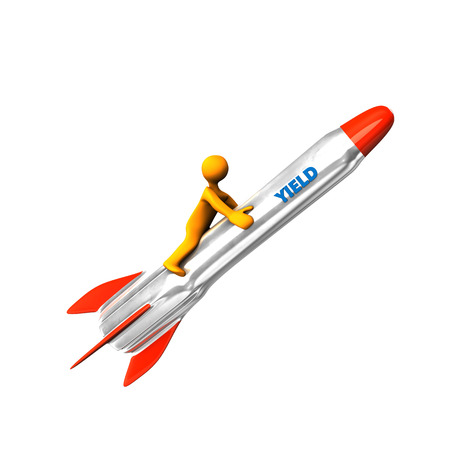 yield: Orange cartoon character on the rocket with blue text Yield. Stock Photo