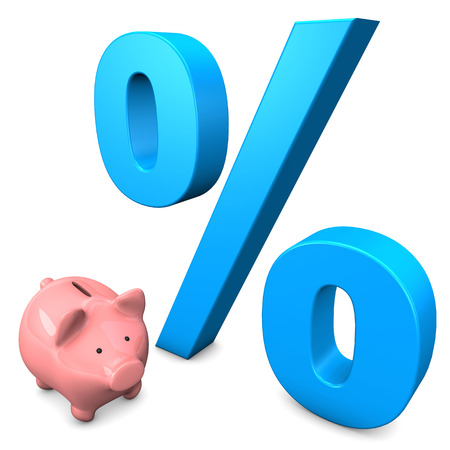Pink piggy bank with big percentage on the white background. Stock Photo