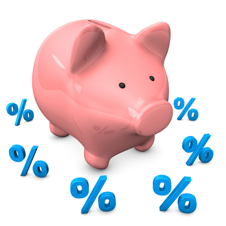 Pink piggy bank with small percentages on the white background.