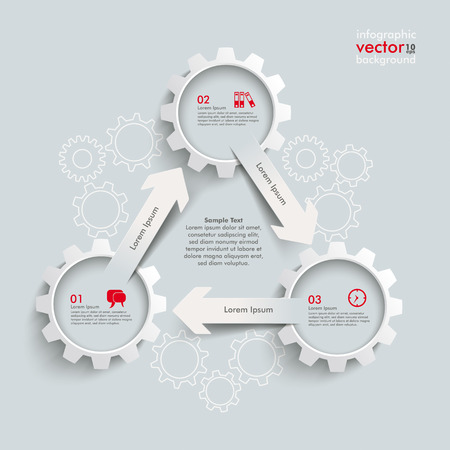 iterative: White paper arrowss with gears on the grey background. Eps 10 vector file. Illustration