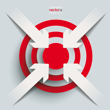 prospects: White paper arrow with red aim on the grey background. Eps 10 vector file. Illustration