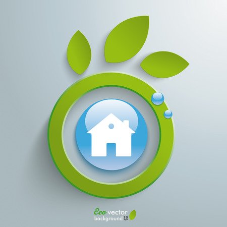 Eco leaves with blue button on the grey background. Eps 10 vector file. Vector
