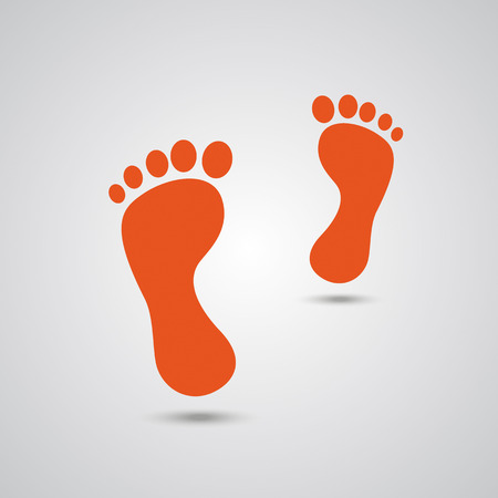 footing: Black footprints on the white background. Eps 10 vector file.