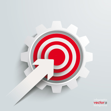 White paper arrow with red aim and white gear on the grey background. Eps 10 vector file. Vector