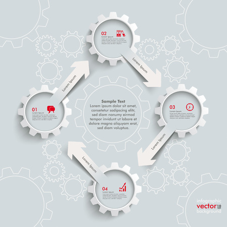 White paper arrowss with gears on the grey background. Eps 10 vector file. Vector