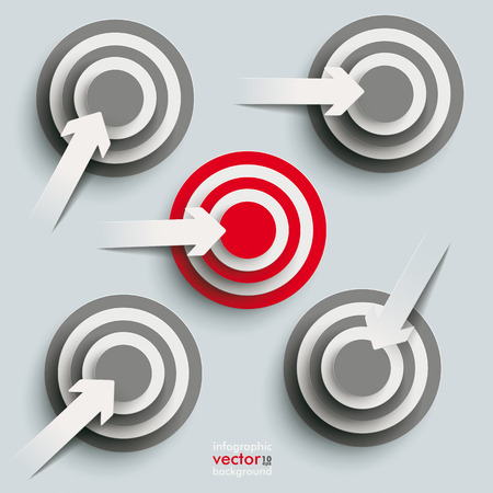 White paper arrows with targets on the grey background. Eps 10 vector file. Stock Vector - 26280387
