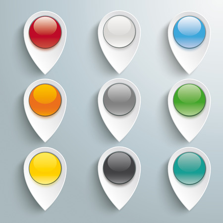 White markers with buttons on the grey background. Eps 10 vector file. Vector
