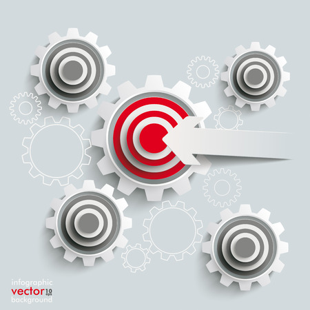 White gears with red aims on the grey background. Eps 10 vector file. Vector