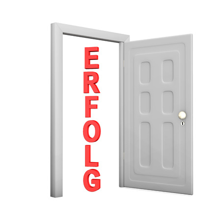 frontdoor: Opened door with red german text Erfolg, translate Success, on the white background. Stock Photo