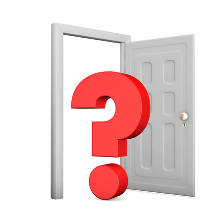frontdoor: Opened door with red question mark on the white background.