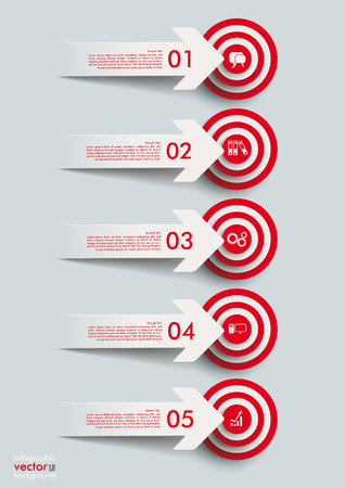 Paper cut arrows with red targets. Stock Vector - 26595046