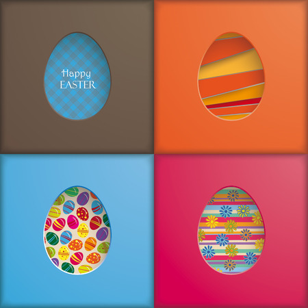4 backgrounds with egg holes. Eps 10 vector file. Vector