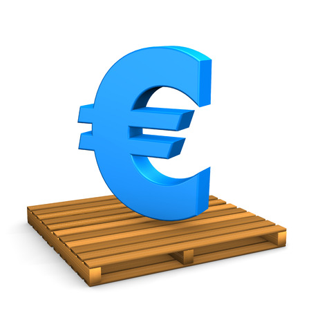 euro pallet: Euro currency symbol on the pallet. White background.