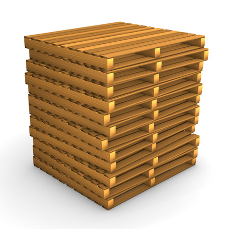 freight forwarding: A batch of pallets on the white background.