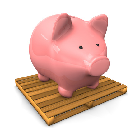 forwarder: A piggy bank on the pallet on the white background.