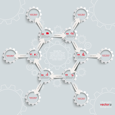 White paper arrowss with gears on the grey background.  Vector