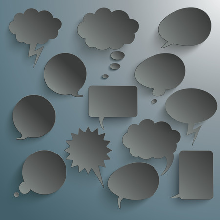 halfone: Infographic design with white communication bubbles on the grey background.