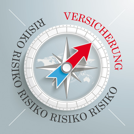 risiko: White compass on the grey background. German text Risiko and Versicherung, translate Risk and Insurance.