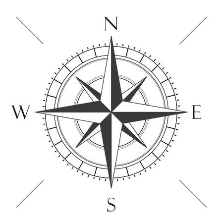 Compas op de witte achtergrond. Stock Illustratie