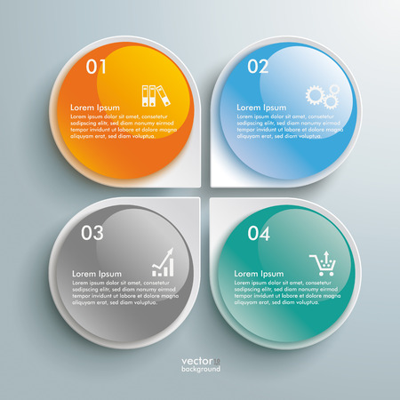 Infographic design white circles on the grey background. Vector