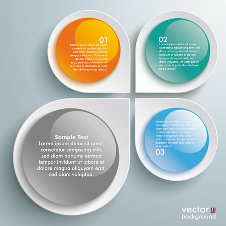 glas 3d: Infographic design white circles on the grey background.  Illustration