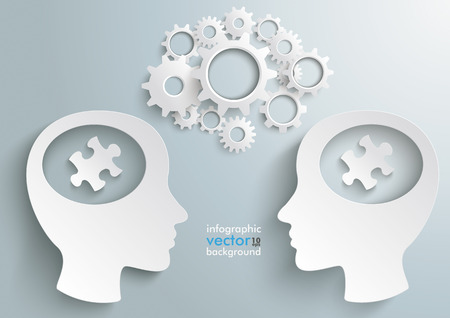Two white heads with gears and puzzle pieces on the grey background.  Vector
